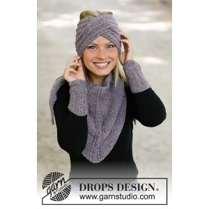The Winter Way by DROPS Design - Knitted Set with Head Band, Shawl and Wrist Warmers Pattern Sizes S/M - L/XL
