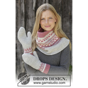 Hint of Heather Set by DROPS Design - Knitted Neck Warmer and Mittens Pattern Sizes S/M - M/L
