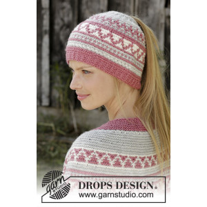 Hint of Heather Hat by DROPS Design - Knitted Hat Pattern Sizes S/M - L/XL