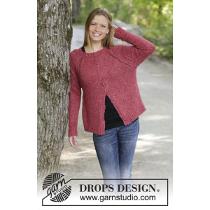 Raspberry Delight by DROPS Design - Knitted Jacket Pattern Sizes S - XXXL