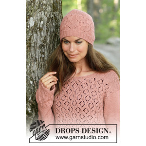 Lady Angelika by DROPS Design - Knitted Hat Pattern Sizes S/M - L/XL