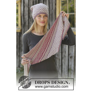 Purple Way by DROPS Design - Knitted Hat and Shawl Pattern Sizes S/M - M/L