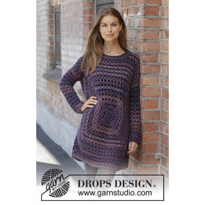 Squared Plum by DROPS Design - Crocheted Tunic Pattern Sizes S - XXXL