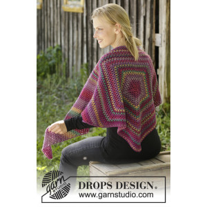 Autumn Flowers by DROPS Design - Crocheted Shawl Pattern 166x60 cm