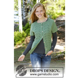 Green Luck Cardi by DROPS Design - Knitted Vest Pattern Sizes S - XXXL