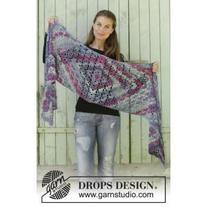 Dragon Eye by DROPS Design - Crocheted Shawl Pattern 194x42 cm
