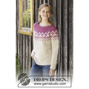 Diamond Delight by DROPS Design - Knitted Jumper Pattern Sizes S - XXXL