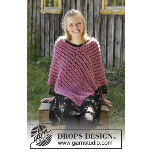 Malina by DROPS Design - Crocheted Poncho Pattern Sizes S - XXXL