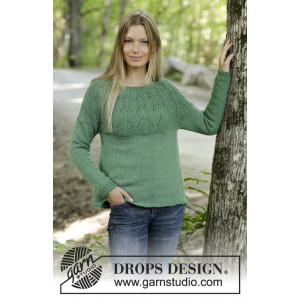 Green Echo by DROPS Design - Knitted Jumper Pattern Sizes S - XXXL