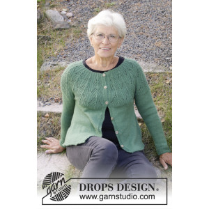 Green Echo Jacket by DROPS Design - Knitted Jacket Pattern Sizes S - XXXL