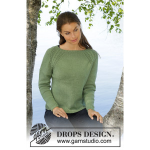 Green Wood by DROPS Design - Knitted Jumper Pattern Sizes S - XXXL