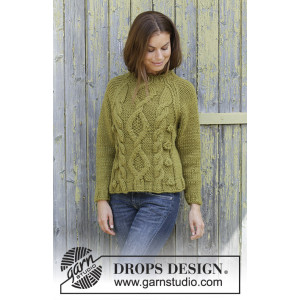 Green Tea by DROPS Design - Knitted Jumper Pattern Sizes S - XXXL