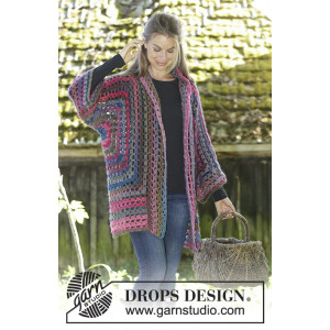 Granny Glam by DROPS Design - Crocheted Jacket Pattern Sizes S - XXXL