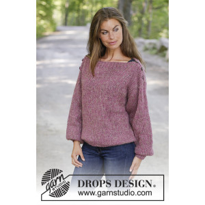 Raspberry Flirt by DROPS Design - Knitted Jumper Pattern Sizes S - XXXL