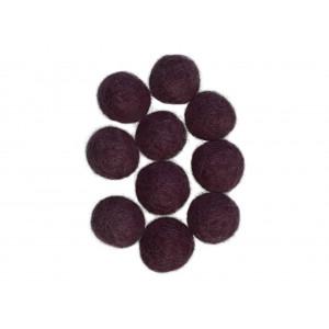 Felt Balls Wool 20mm Purple Plum V5 - 10 pcs