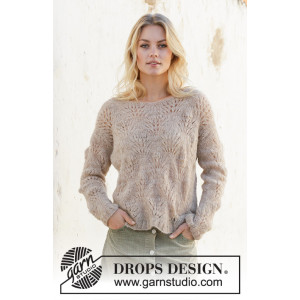 Footprints in the Sand by DROPS Design - Knitted Jumper Pattern Sizes S - XXXL
