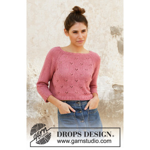 Raspberry Kiss Jumper by DROPS Design - Knitted Jumper Pattern Sizes S - XXXL