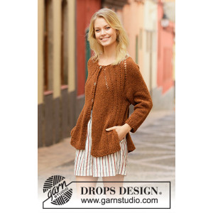 Autumn Spice Cardigan by DROPS Design - Knitted Jumper Pattern Sizes S - XXXL