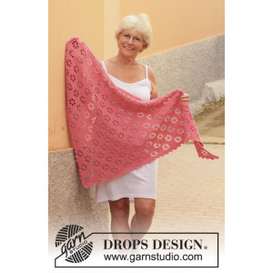 Marion's Garden by DROPS Design - Crocheted Shawl Pattern 160x71 cm