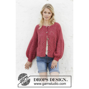 Berry Diamond Cardigan by DROPS Design - Knitted Jumper Pattern Sizes S - XXXL