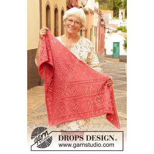 Heart Me by DROPS Design - Knitted Shawl Pattern 182x91 cm
