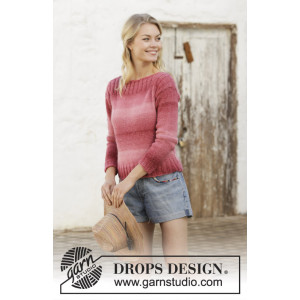 Raspberry Crush by DROPS Design - Knitted Jumper Pattern Sizes S - XXXL