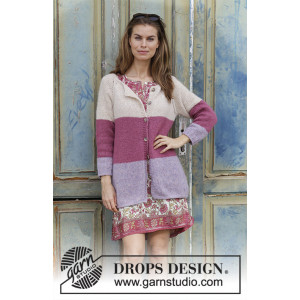 Lavender Rose by DROPS Design - Jacket Knitting pattern size S - XXXL