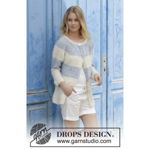 Sailor's Luck Cardigan by DROPS Design - Jacket Knitting pattern size S - XXXL