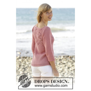 Butterfly Heart by DROPS Design - Jumper with Lace Pattern Size S - XXXL