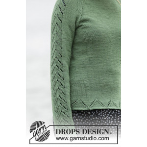 Green Forest by DROPS Design - Knitted Jumper with Raglan Pattern Size S - XXXL