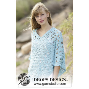 Sky Love by DROPS Design - Crochet Poncho with Lace Pattern Size S - XXXL