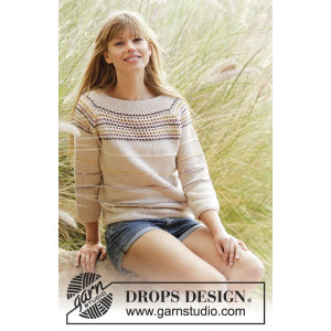 Freja by DROPS Design - Knitted Jumper with Stripes and Lace Edge Pattern Size S - XXXL