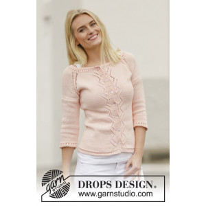 Peach Macaroon by DROPS Design - Knitted Jacket with Lace Pattern Size S - XXXL