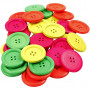 Wooden Buttons, D: 35 mm, hole size 2 mm, 60 pcs, neon colours, china berry