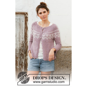 Rosewood Jacket by DROPS Design - Knitted Jacket Pattern Sizes S - XXXL