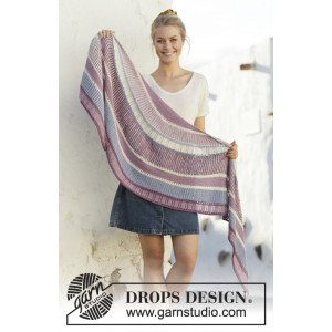 Pink Moon by DROPS Design - Knitted Shawl Pattern 190x50 cm