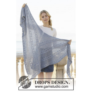 Midnight Mingle by DROPS Design - Knitted Shawl Pattern 196x83 cm