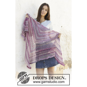 Fields of Joy by DROPS Design - Crocheted Shawl Pattern 162x78 cm