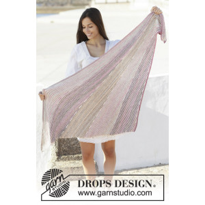 Rays of Sunset by DROPS Design - Knitted Shawl Pattern 160x69 cm