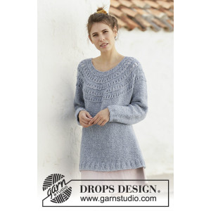 April Showers by DROPS Design - Knitted Long Jumper Pattern Sizes S - XXXL