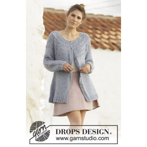 April Showers Jacket by DROPS Design - Knitted long jacket Pattern Sizes S - XXXL