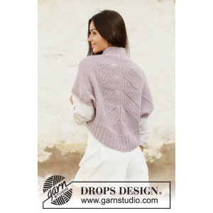 Sweet Angel by DROPS Design - Knitted Shoulder Piece Lace Pattern size S - XXXL
