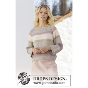 Rose Water by DROPS Design - Knitted Jumper Pattern Sizes S - XXXL