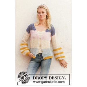 Mardi Gras Jacket by DROPS Design - Knitted Jacket Pattern Sizes S - XXXL