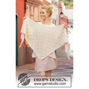 Ivory Dream by DROPS Design - Knitted Shawl Pattern 180x68 cm