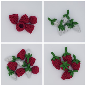 Karlas Raspberry by Rito Krea - Fruit Crochet Pattern 9cm - 5 pcs