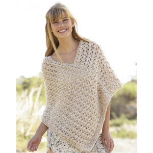 Creme Caramel by DROPS Design - Knitted Poncho Pattern size S - XXXL