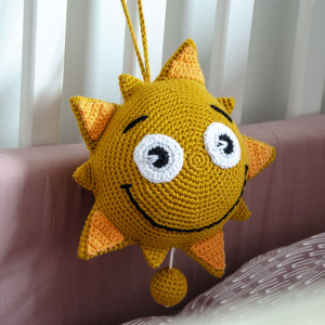 Sun with Music Box by Rito Krea - Crochet Pattern for hanging Sun 18 cm