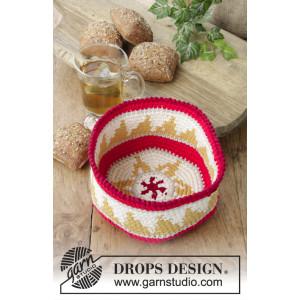 Breakfast Treats by DROPS Design - Crocheted Basket Pattern 18x9 cm