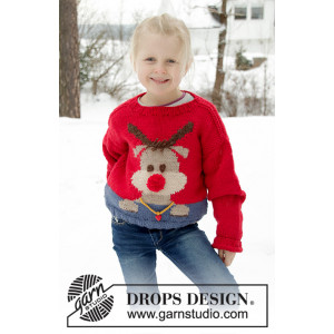 Red Nose Jumper Kids by DROPS Design - Knitted Jumper Pattern Sizes 2 - 12 years